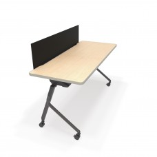 """Mesa Series Nesting Training Table/Desk with Privacy Panel 23.50"""" x 59"""", Maple/Black"""