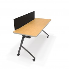 """Mesa Series Nesting Training Table/Desk with Privacy Panel 23.50"""" x 59"""", Oak/Black"""