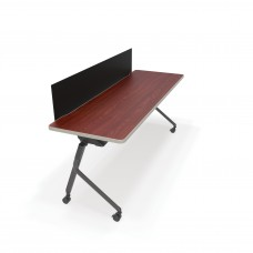"""OFM Mesa Series Wheeled Nesting Training / Seminar Table with Privacy Panel, 23.5"""" x 59"""", Cherry/Black"""