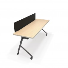 """OFM Mesa Series Wheeled Nesting Training / Seminar Table with Privacy Panel, 23.5"""" x 59"""", Maple/Black"""