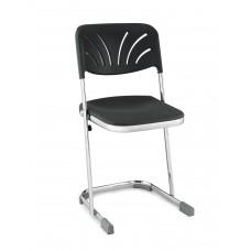 "18"" Elephant Z-Stool Black Seat Blow Molded Chrome Frame w/ Adjustable Backrest"