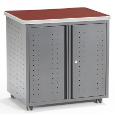 OFM Mesa Series Model 66746 Wheeled Locking Mobile Utility Station Cabinet with Laminate Top, Cherry