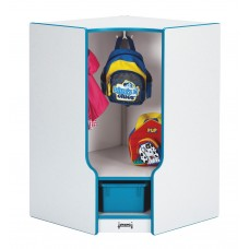 Rainbow Accents® Toddler Corner Coat Locker with Step - with Trays - Blue