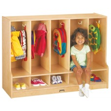 Jonti-Craft® Toddler 5 Section Coat Locker with Step - without Cubbie-Trays