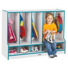 Rainbow Accents® Toddler 5 Section Coat Locker with Step - without Trays - Blue