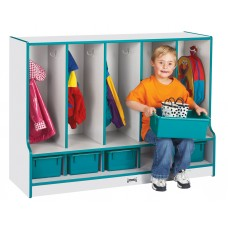 Rainbow Accents® Toddler 5 Section Coat Locker with Step -  with Trays - Orange