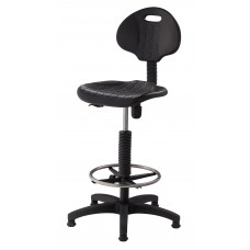Black Adjustable-Height Self-Skinned Polyurethane Stool w/ Backrest