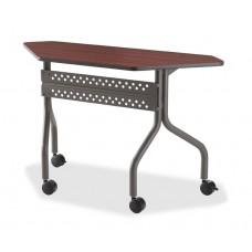 "OfficeWorks Mobile Training Table, 48"" Trapezoid - Mahogany"