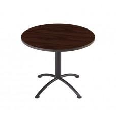 "Edgeband 36""Round Table, 29""H, Mahogany, Charcoal base"
