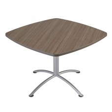 "Edgeband 42""Square Table, 29""H, Natural Teak, Silver Base"