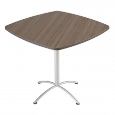 "Edgeband 42""Square Table,42""H, Natural Teak, Silver Base"