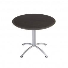 "Urethane 36""Round Table, 29""H, Grey Walnut, Silver Base"