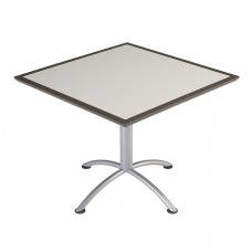 "Urethane 36""Square Table, 29""H, Grey, Silver Base"