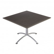 "Urethane 42""Square Table, 29""H, Grey Walnut, Silver Base"