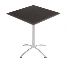 "Urethane 36""Square Table, 42""H, Grey Walnut, Silver Base"