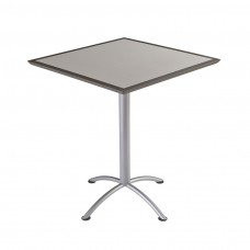 "Urethane 36""Square Table, 42""H, Grey, Silver Base"