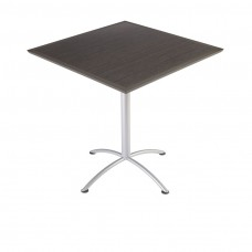 "Urethane 42""Square Table, 42""H, Grey Walnut, Silver Base"