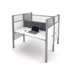 Pro-Biz Double face to face workstation in White with Gray Tack Boards