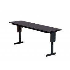 "Adjustable Height 3/4"" High Pressure Folding Seminar Table with Panel Leg - 18x72"" - Gray Granite"