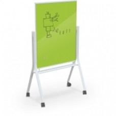 White Visionary Curve Mobile Glass Whiteboard - 3 X 4 - Lime Green
