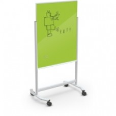 White Visionary Move Glass Board, 4 X 6, Lime Green