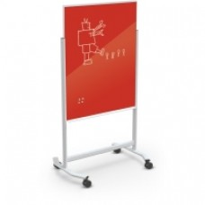White Visionary Move Glass Board, 4 X 6, Deep Red