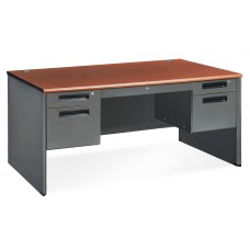 OFM Executive Series Model 77360 5-Drawer Double Pedestal Panel End Desk with Laminate Top, Cherry