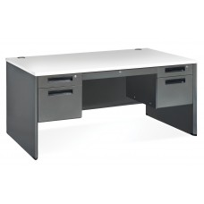 OFM Executive Series Model 77360 5-Drawer Double Pedestal Panel End Desk with Laminate Top, Gray Nebula