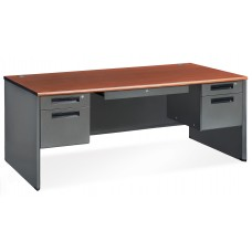 OFM Executive Series Model 77372 5-Drawer Double Pedestal Executive Desk with Laminate Top, Cherry