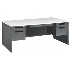 OFM Executive Series Model 77372 5-Drawer Double Pedestal Executive Desk with Laminate Top, Gray Nebula