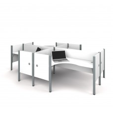 Pro-Biz Four L-desk workstation in White
