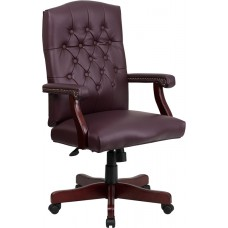 Martha Washington Burgundy Leather Executive Swivel Chair with Arms [801L-LF0019-BY-LEA-GG]