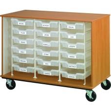 "36"" Tall - Open Bin Storage, 18 (3"") Trays"