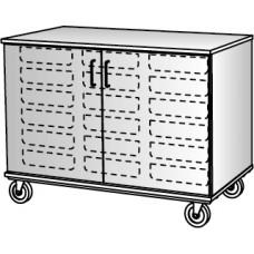 """36"""" Tall - Closed Tray Storage, 18 (3/12"""") Trays - With Doors, No Lock"""