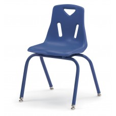 """Berries® Stacking Chairs with Powder-Coated Legs - 16"""" Ht - Set of 6 - Blue"""