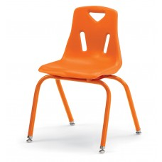 """Berries® Stacking Chair with Powder-Coated Legs - 16"""" Ht - Orange"""