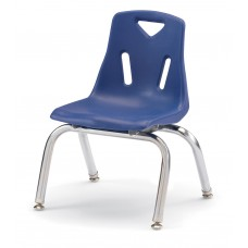 """Berries® Stacking Chairs with Chrome-Plated Legs - 10"""" Ht - Set of 6 - Blue"""