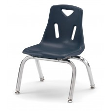"""Berries® Stacking Chairs with Chrome-Plated Legs - 10"""" Ht - Set of 6 - Navy"""