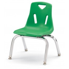 """Berries® Stacking Chairs with Chrome-Plated Legs - 10"""" Ht - Set of 6 - Green"""
