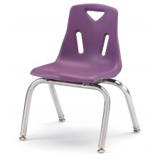 """Berries® Stacking Chair with Chrome-Plated Legs - 12"""" Ht - Purple"""