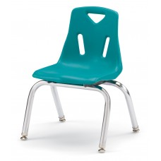 """Berries® Stacking Chair with Chrome-Plated Legs - 12"""" Ht - Teal"""