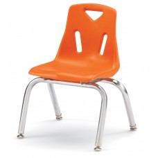 """Berries® Stacking Chair with Chrome-Plated Legs - 12"""" Ht - Orange"""