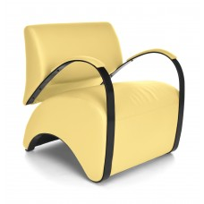 OFM Recoil Series Vinyl and Fabric Lounge Chair, Yellow