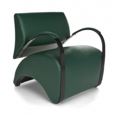 OFM Recoil Series Vinyl and Fabric Lounge Chair, Dark Green
