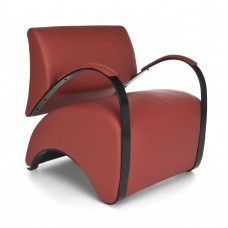 OFM Recoil Series Vinyl and Fabric Lounge Chair, Red