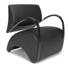 OFM Recoil Series Vinyl and Fabric Lounge Chair, Black