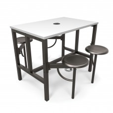 OFM Endure Series Standing / Counter Height 4 Seat Table, Dark Vein/White