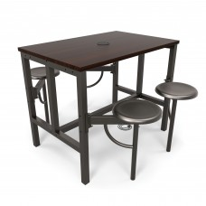 OFM Endure Series Standing / Counter Height 4 Seat Table, Dark Vein/Walnut