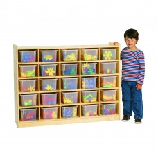 Value Line™ Birch 25-Tray Cubby Storage with Clear Trays
