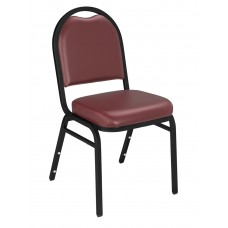 Pleasant Burgundy Dome Vinyl Upholstered Padded Stack Chairs Black Sandtex Frame
